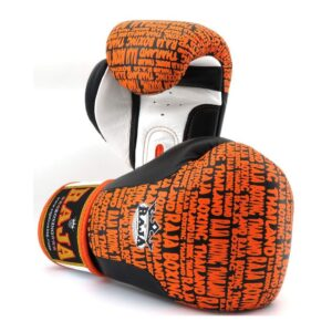 Guantes Raja Boxing Premiun Piel Negro/Naranja