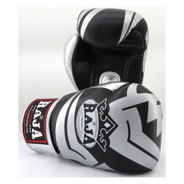 Guantes Raja Boxing Fancy Piel Negro/Plata